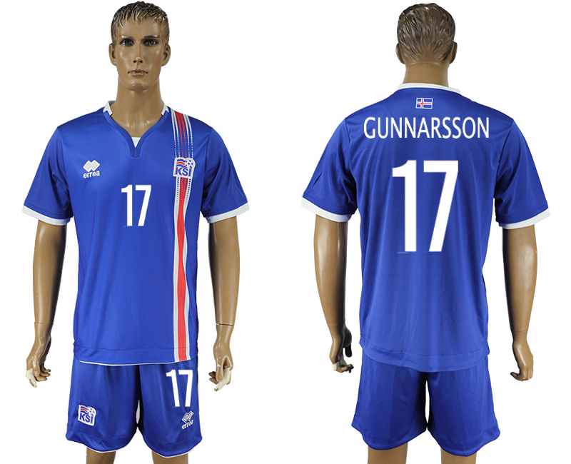 Iceland 17 GUNNARSSON Home UEFA Euro 2016 Soccer Jersey