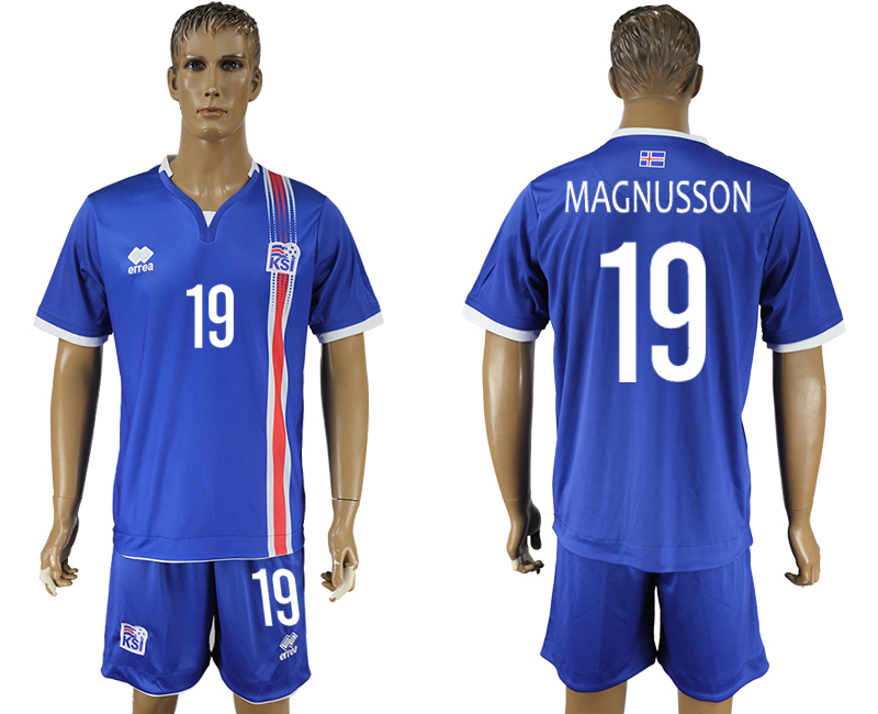 Iceland 19 MAGNUSSON Home UEFA Euro 2016 Soccer Jersey