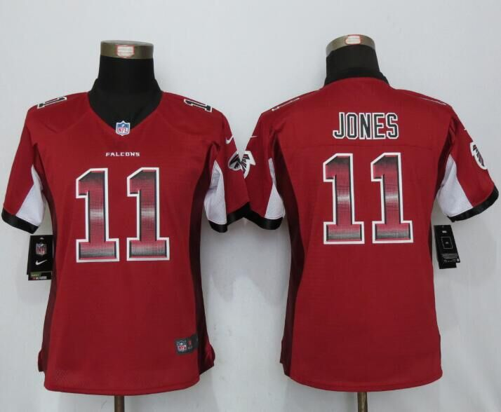 Nike Falcons 11 Julio Jones Red Red Pro Line Fashion Strobe Women Limited Jersey