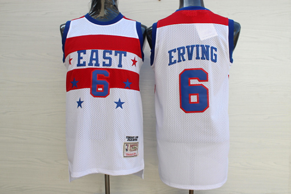 76ers 6 Julius Erving White 1980 All Star Hardwood Classics Jersey