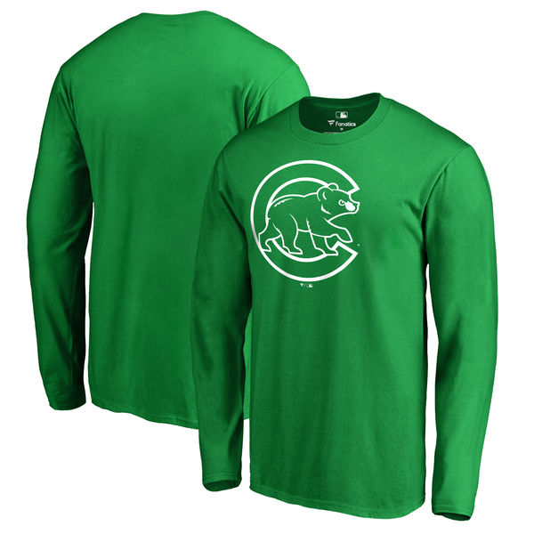Men's Chicago Cubs Fanatics Branded Kelly Green St. Patrick's Day White Logo Long Sleeve T-Shirt