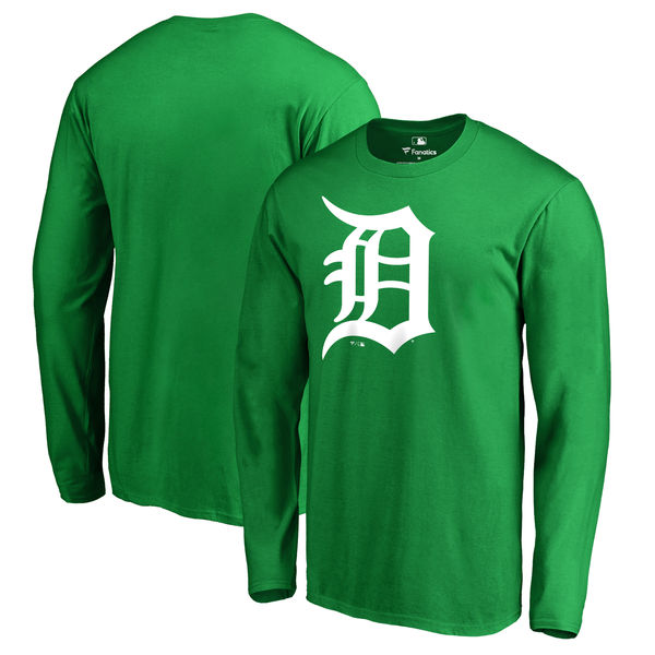 Men's Detroit Tigers Fanatics Branded Kelly Green St. Patrick's Day White Logo Long Sleeve T-Shirt