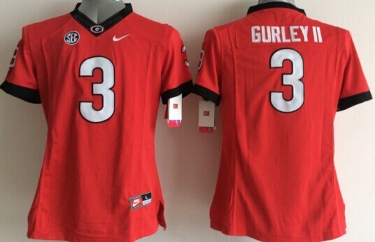Georgia Bulldogs 3 Gurley II Red College Women Jerseys