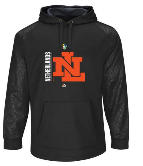 Netherlands Baseball Majestic World Baseball Classic Team Icon Fleece Pullover Hoodie Black Graphite