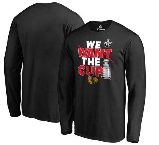 Chicago Blackhawks Fanatics Branded 2017 NHL Stanley Cup Playoff Participant Blue Line Long Sleeve T Shirt Black