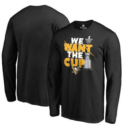 Pittsburgh Penguins Fanatics Branded 2017 NHL Stanley Cup Playoff Participant Blue Line Long Sleeve T Shirt Black