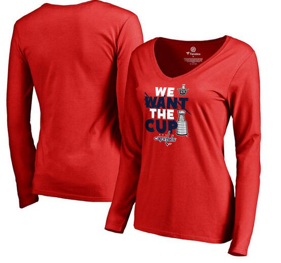 Washington Capitals Fanatics Branded Women's 2017 NHL Stanley Cup Playoff Participant Blue Line V Neck Long Sleeve T Shirt Red