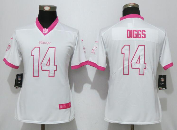 Nike Vikings 14 Stefon Diggs White Pink Women Game Jersey