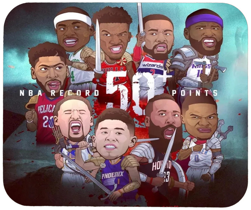 NBA Record 50 Points Cartoon Logo Gaming/Office Mouse Pad