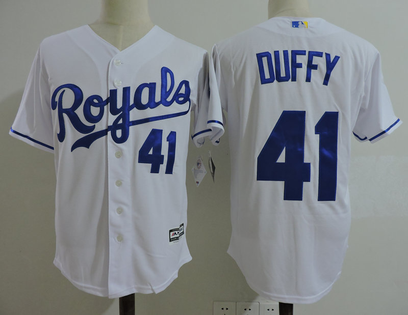 Royals 41 Danny Duffy White Cool Base Jersey