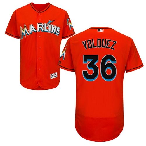 Marlins 36 Edinson Volquez Orange Flexbase Jersey