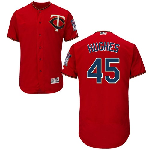 Twins 45 Phil Hughes Red Flexbase Jersey