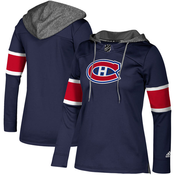 Canadiens Navy Women's Customized All Stitched Hooded Sweatshirt