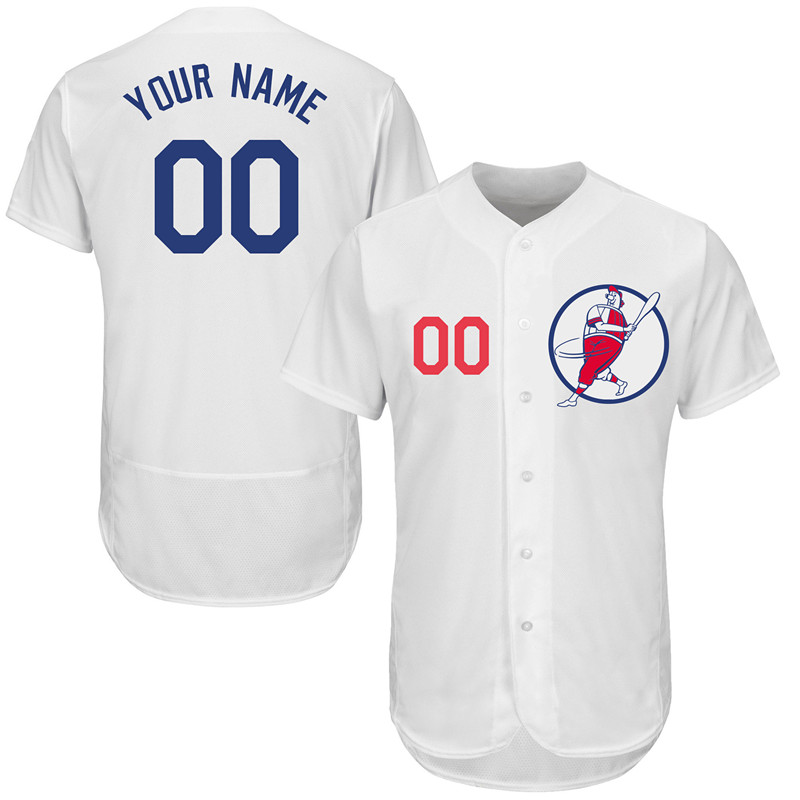 Dodgers White Men's Customized Flexbase New Design Jersey