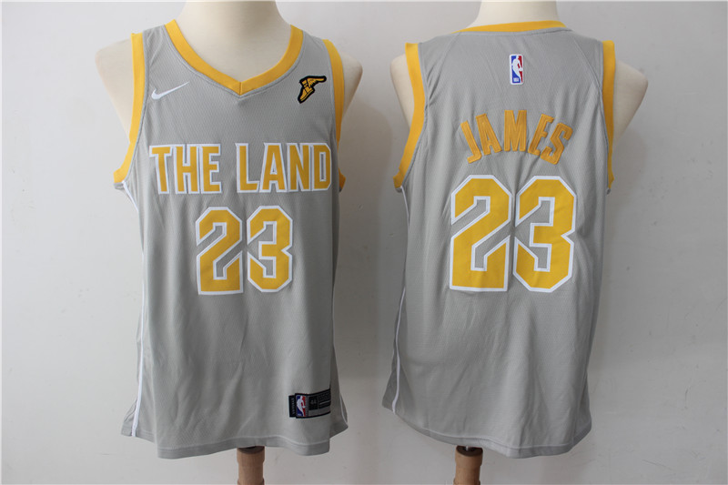 Cavaliers 23 LeBron James Gray The Land Nike Swingman Jersey