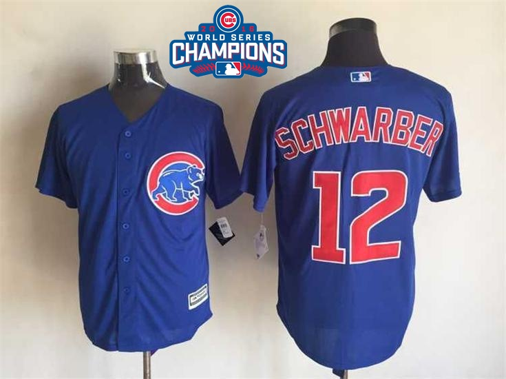 Cubs 12 Kyle Schwarber Royal 2016 World Series Champions New Cool Base Jersey