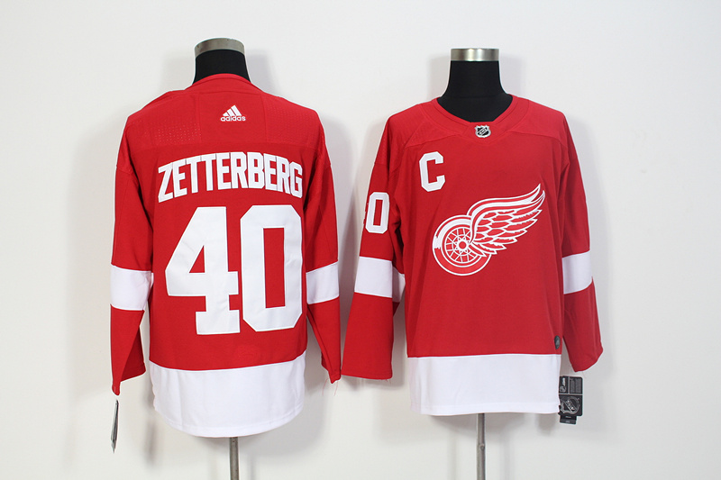 Red Wings 40 Henrik Zetterberg Red Adidas Jersey