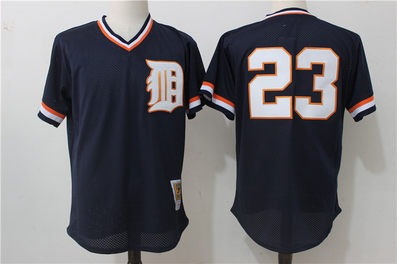 Tigers 23 Kirk Gibson Navy Cooperstown Collection Mesh Batting Practice Jersey