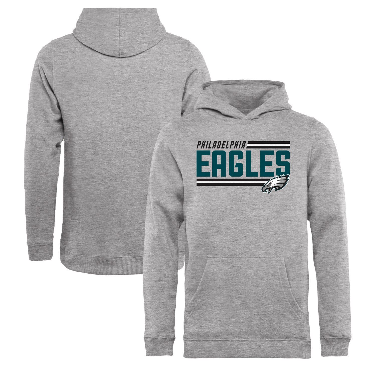 Youth Philadelphia Eagles NFL Pro Line by Fanatics Branded Ash Iconic Collection On Side Stripe Pullover Hoodie
