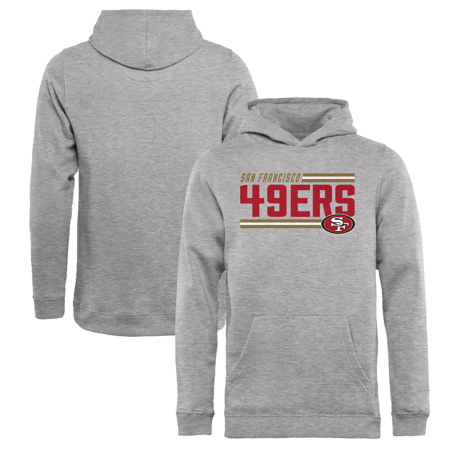 Youth San Francisco 49ers NFL Pro Line by Fanatics Branded Ash Iconic Collection On Side Stripe Pullover Hoodie