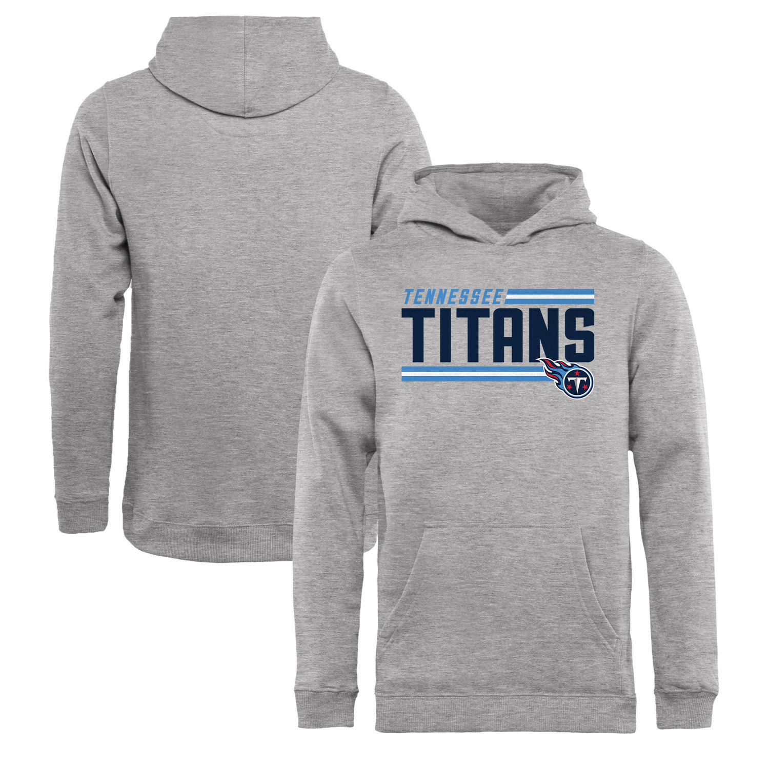 Youth Tennessee Titans NFL Pro Line by Fanatics Branded Ash Iconic Collection On Side Stripe Pullover Hoodie