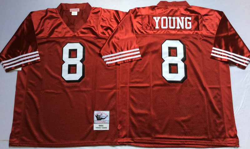 49ers 8 Steve Young Red Vintage M&N Jersey