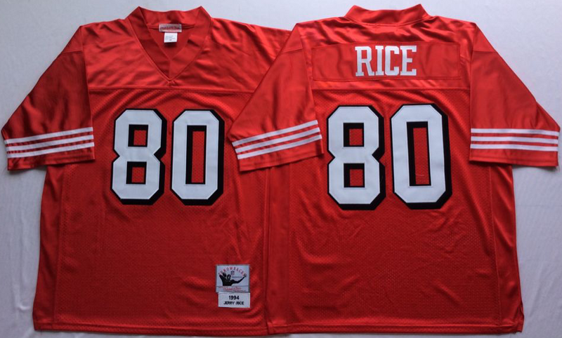 49ers 80 Jerry Rice Red Vintage M&N Jersey