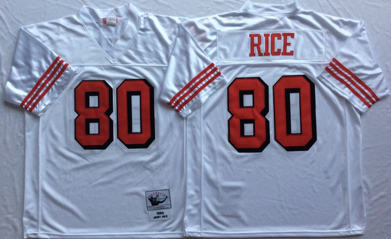49ers 80 Jerry Rice White Vintage M&N Jersey