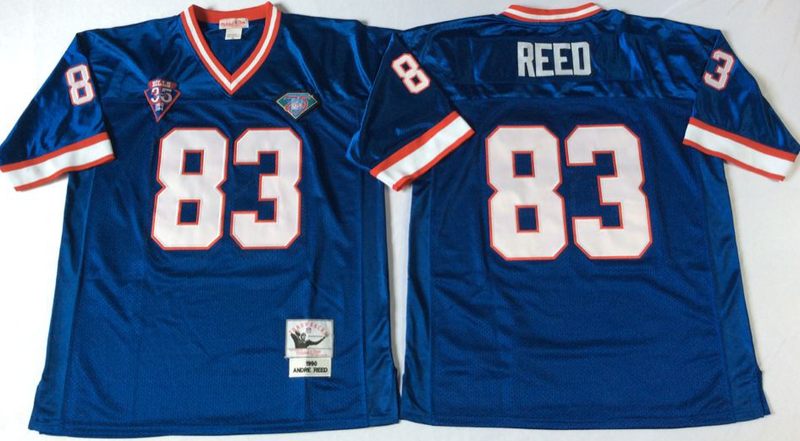 Bills 83 Andre Reed Blue M&N Throwback Jersey
