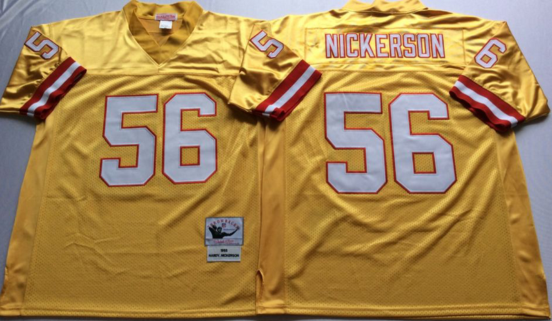 Buccaneers 56 Hardy Nickerson Yellow M&N Throwback Jersey