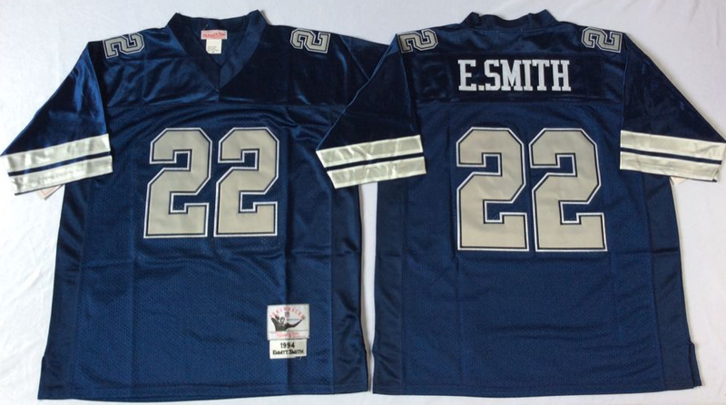Cowboys 22 Emmitt Smith Navy M&N Throwback Jersey