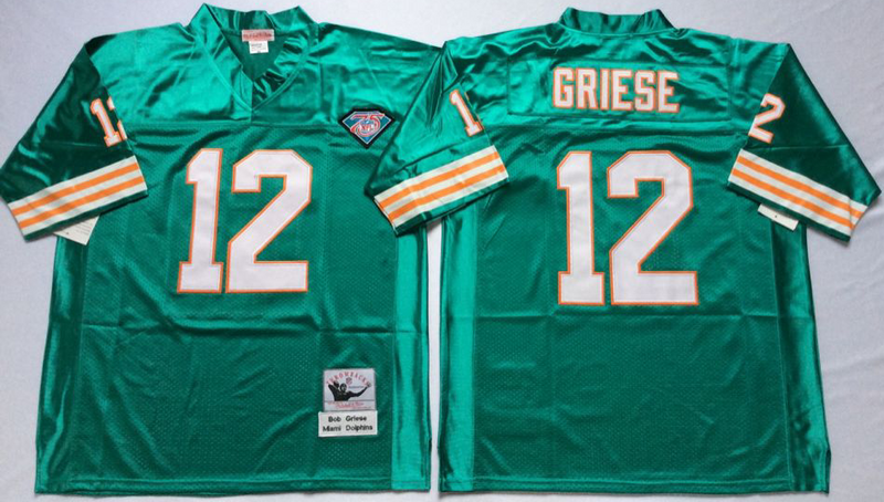 Dolphins 12 Bob Griese Aqua M&N Throwback Jersey