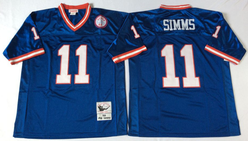 Giants 11 Phil Simms Blue M&N Throwback Jersey
