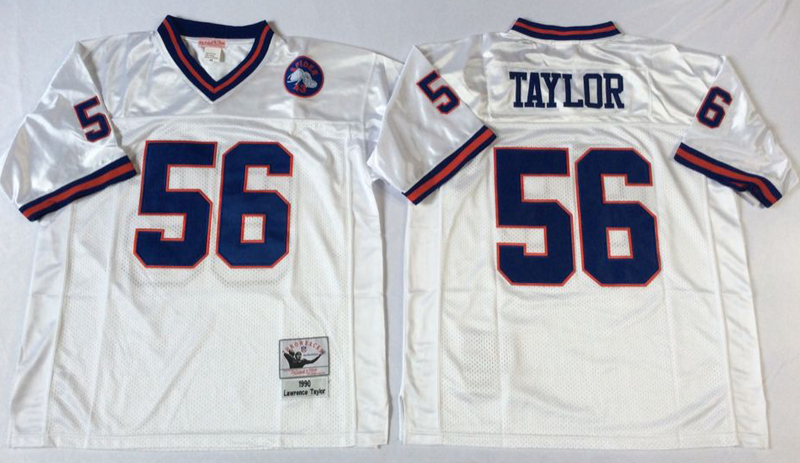 Giants 56 Lawrence Taylor White M&N Throwback Jersey