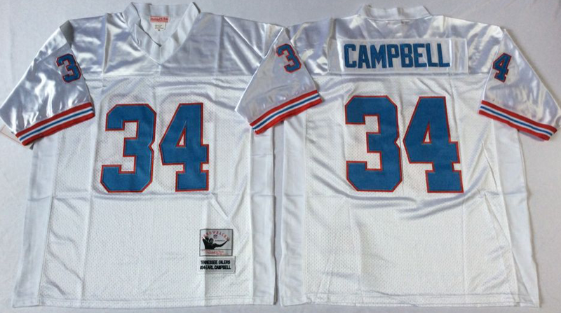 Oilers 34 Earl Campbell White M&N Throwback Jersey