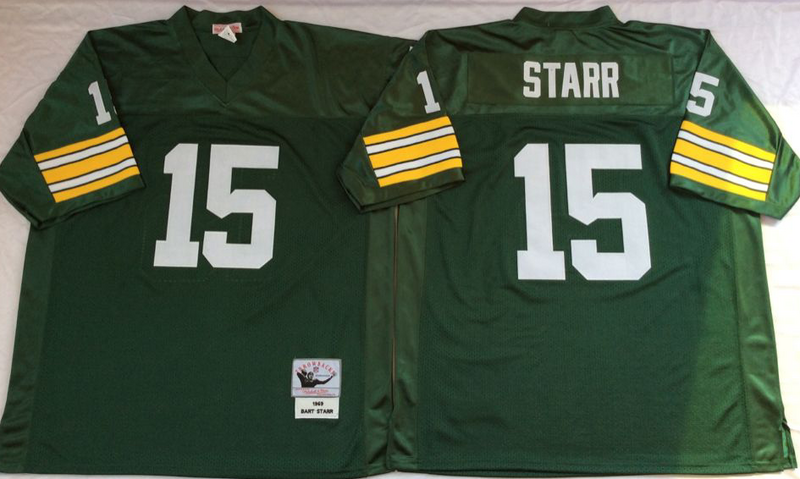 Packers 15 Bart Starr Green M&N Throwback Jersey