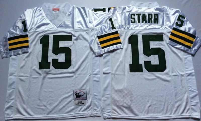 Packers 15 Bart Starr White M&N Throwback Jersey