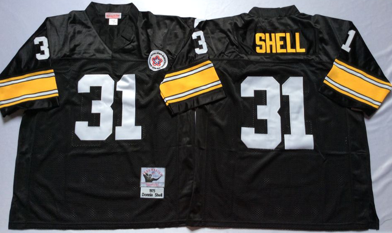 Steelers 31 Donnie Shell Black M&N Throwback Jersey