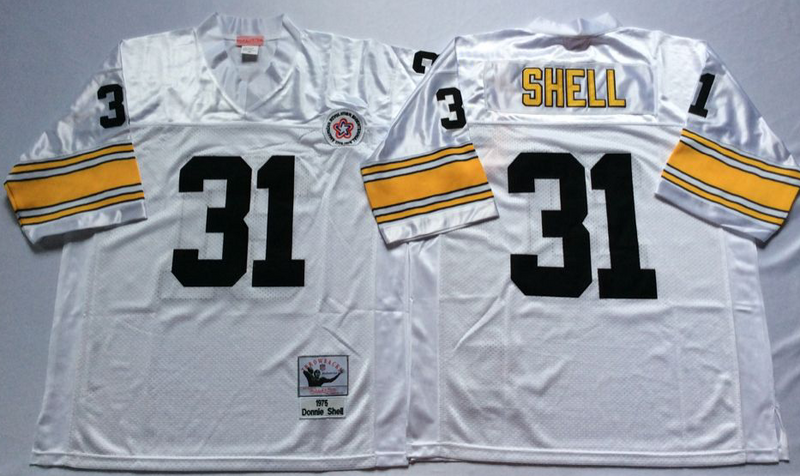 Steelers 31 Donnie Shell White M&N Throwback Jersey