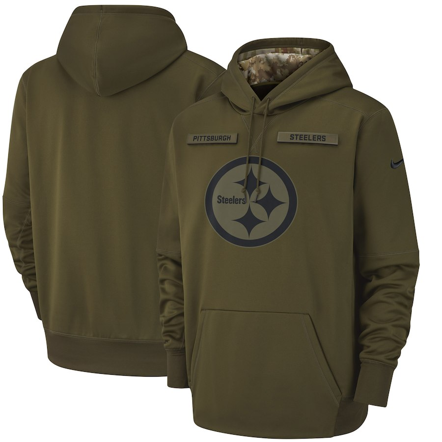 Pittsburgh Steelers Nike Salute to Service Sideline Therma Performance Pullover Hoodie Olive