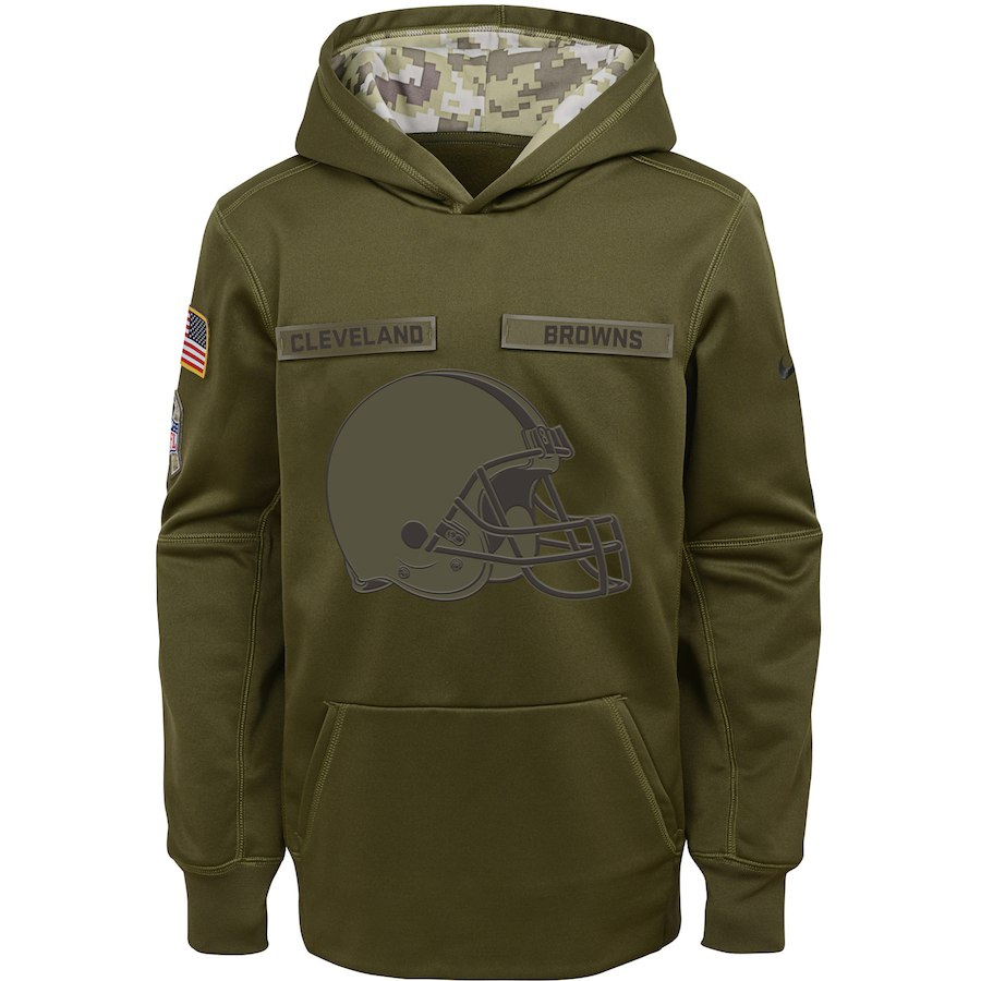 Cleveland Browns Nike Youth Salute to Service Pullover Performance Hoodie Green