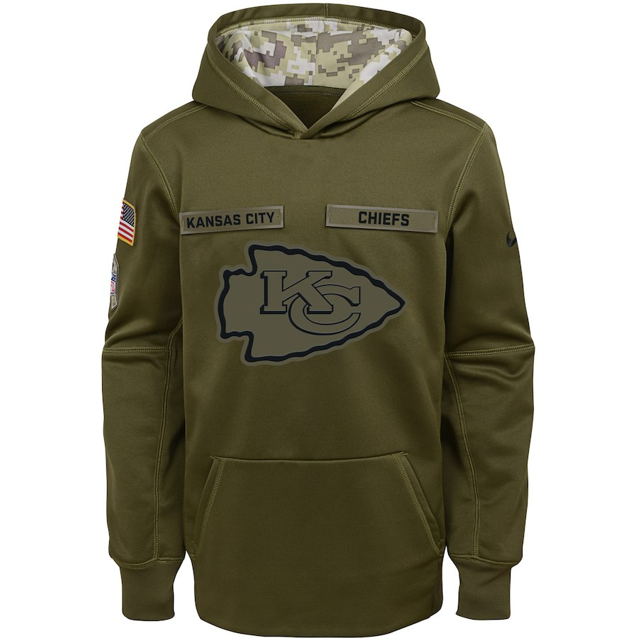 Kansas City Chiefs Nike Youth Salute to Service Pullover Performance Hoodie Green