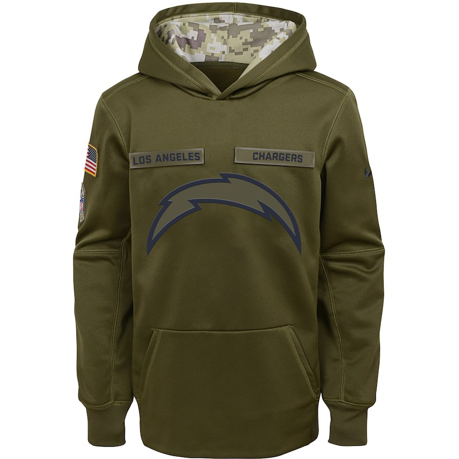 Los Angeles Chargers Nike Youth Salute to Service Pullover Performance Hoodie Green