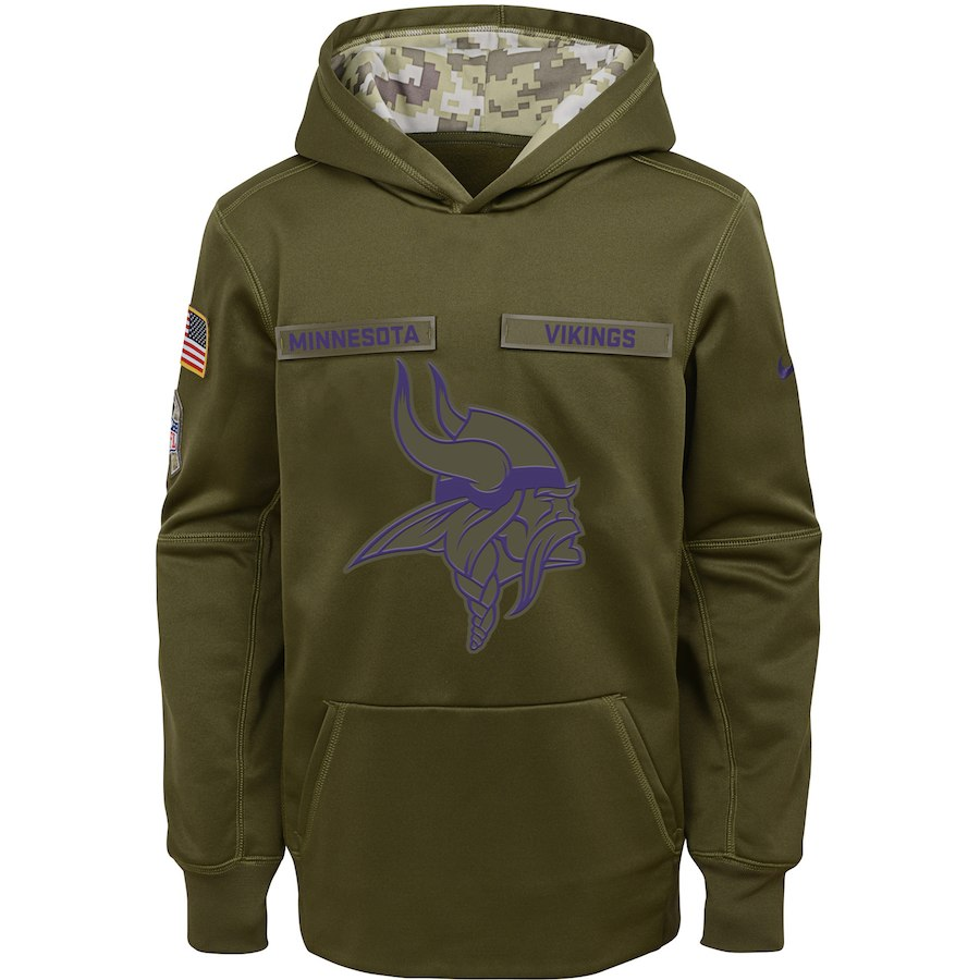 Minnesota Vikings Nike Youth Salute to Service Pullover Performance Hoodie Green