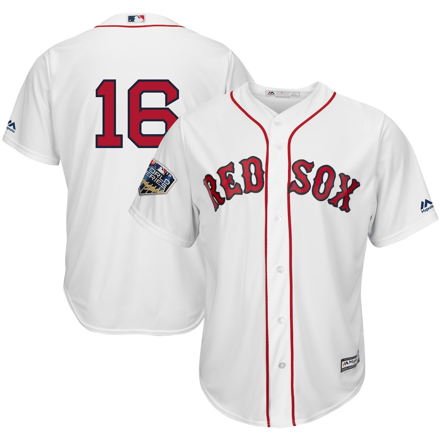 Red Sox 16 Andrew Benintendi White 2018 World Series Cool Base Player Number Jersey