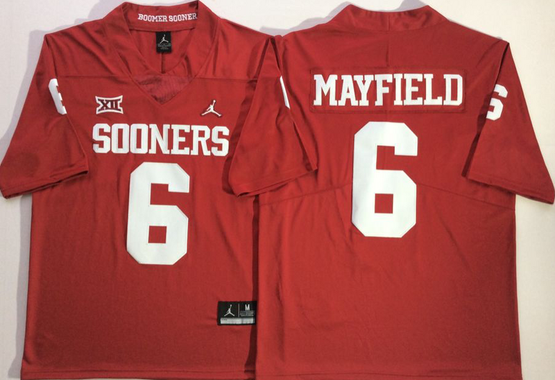 Oklahoma Sooners 6 Baker Mayfield Red College Football Jersey