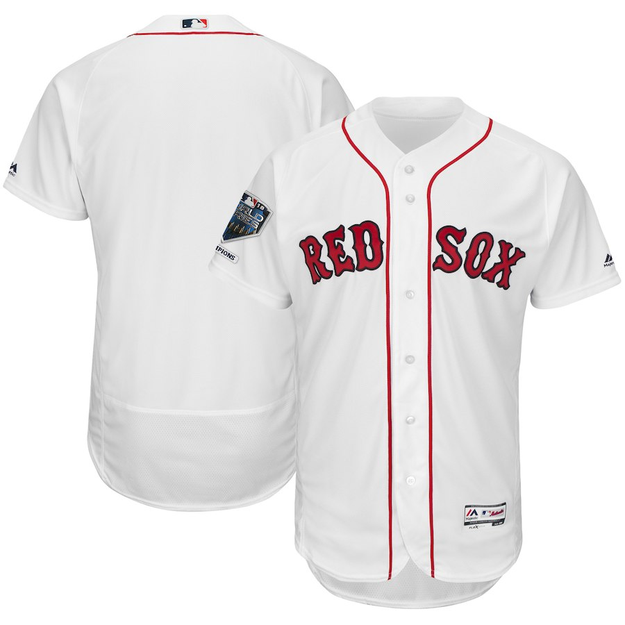 Red Sox Blank White 2018 World Series Champions Home Flexbase Team Jersey