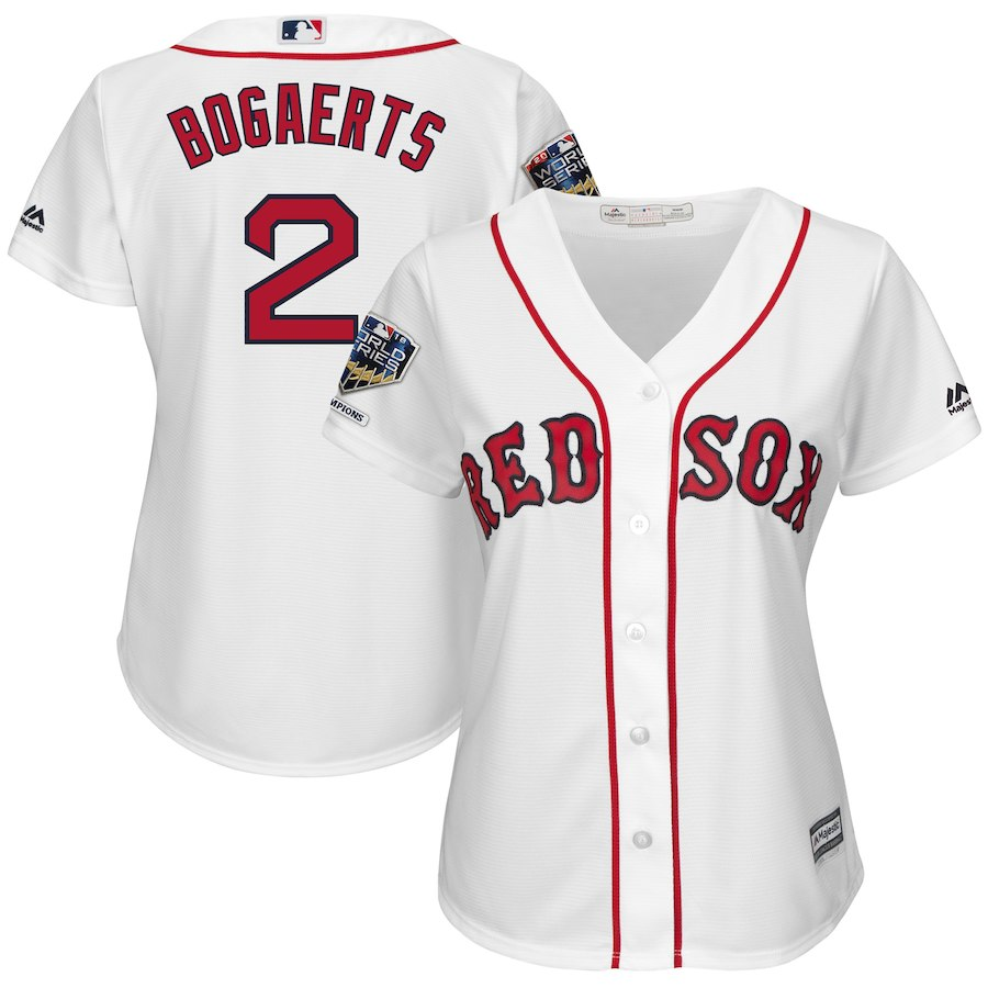 Red Sox 2 Xander Bogaerts White Women 2018 World Series Champions Home Cool Base Player Jersey