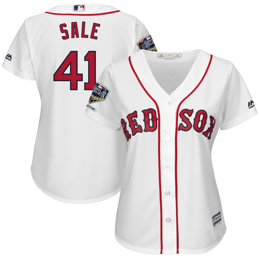 Red Sox 41 Chris Sale White Women 2018 World Series Champions Home Cool Base Player Jersey