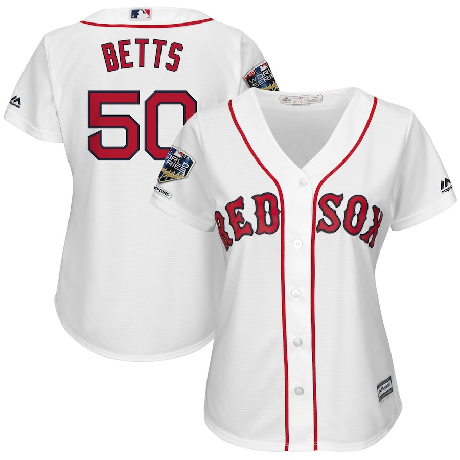 Red Sox 50 Mookie Betts White Women 2018 World Series Champions Home Cool Base Player Jersey